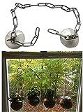 Saugnapf-Halterung SET für Fenster & Balkontüren/Glas Haltesystem - Ohne zu Bohren für Blumenampel Hänge-topf Gewächse Schilder/Aufhänger Haken – Quasi Selbstklebend mit Einhängkette (80cm)