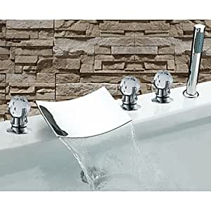 GYB Zeitgenössische Chrome Finish Drei Griffe Wasserfall Badewanne Wasserhahn mit Handbrause