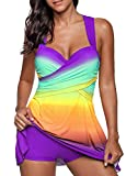 LANOMI Womens Swimdress Color Block Print Strappy Tankini Sets with Shorts Swimsuits Swimwear Size 8 10 12 14 16 18 20 22 (Label 4XL/UK 20, Purple)