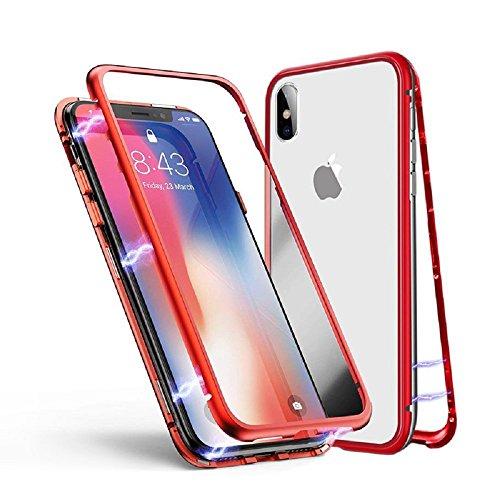 iPhone 6S Hülle, Jonwelsy Metallrahmen Magnetische Adsorption Handyhülle mit eingebautem Magnetklappdeckel, Ultra Dünn Gehärtetes Glas Transparente Back Cover für iPhone 6S / 6 (4.7 Zoll), Rot Back Cover Blende