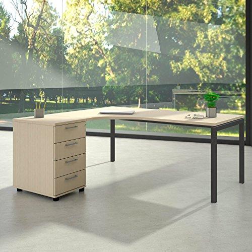 Weber Büro Winkelschreibtisch mit Standcontainer NOVA XL 180x163cm Ahorn Eck-Schreibtisch, Gestellfarbe:Anthrazit