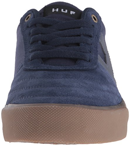 HUF , Chaussures de skateboard pour homme Blanc White Leather Sports Blue Indigo/Gum/3m