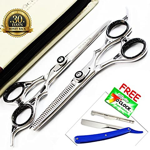 2 x Juego de peluquería tijeras de pelo cortado de acero pelo tijeras adelgazamiento japoneses peluquería Tijeras Set + accesorios Gratuita Kit Tijeras