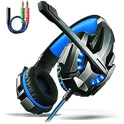 Gaming Kopfhörer PS4, Aoso G9000 Gaming Headset 3.5mm Stereo mit Mikrofon In-line Lautstärkeregler und LED Licht für PS4 Xbox One PC Tablet Smartphone Blau