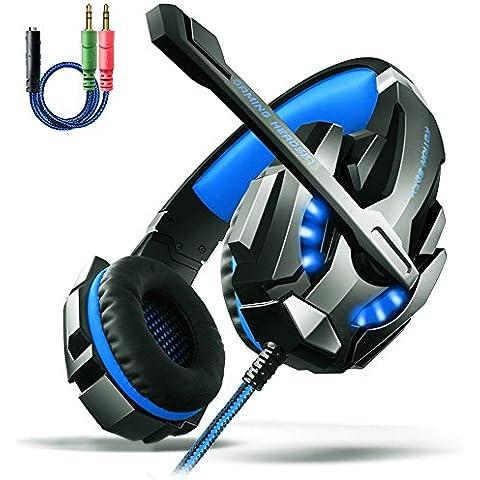 AOSO G9000 PS4 Auriculares de juegos de PC con micrófono y control de volumen estéreo de aislamiento acústico de sonido Super Confort sobre auriculares auriculares de 3,5 mm para auriculares de la cabeza PS4 PC portátil - Empaquetado al por menor
