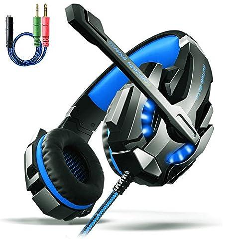 Gaming Kopfhörer PS4, Aoso G9000 Gaming Headset 3.5mm Stereo mit Mikrofon In-line Lautstärkeregler und LED Licht für PS4 Xbox One PC Tablet Smartphone
