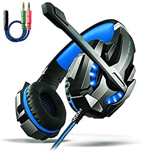 AOSO G9000 Gaming Headset PS4 PC LED Light Over-Ear Headband Headphone For PS4 PC Laptop Xbox One With Mic & Volume Control And 3.5mm Audio Jack Y Cable Adapter (Black & Blue) - Retail Packaging