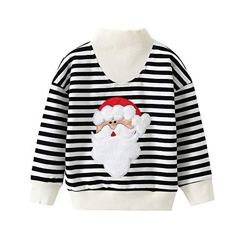 Junge Winter Herbst Streifen Weihnachten Santa Claus Sweatshirt Tops Bedrucktes langärmliges Pulloveroberteil ()