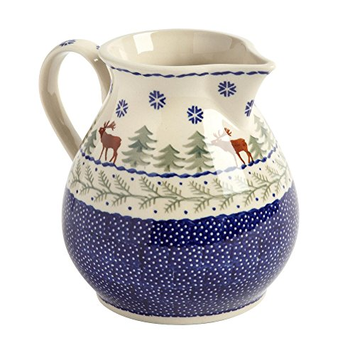 winter-moose-handmade-ceramic-pitcher-manufaktura-w-boleslawiec-genuine-hand-painted-polish-pottery-