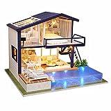 luckything Häuser Für Minipuppen, 3D DIY Puppenhaus Haus Handgefertigt Spielzeug Miniatur Holzhaus Möbel Zubehör Holz Puppenhaus Handwerk Miniatur Kit Mit LED-Licht, Schwimmbad Für Kinder Geschenk