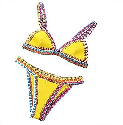 Hstyle Las mujeres Crochet Punto Tapizados De Neón De Neopreno BikiniSummer De La Playa Del Traje De Baño De Conjunto