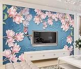 YUANLINGWEI Benutzerdefinierte Mural Tapeten Einfache Und Schöne Magnolie Blumen Und Vögel Muster Liveing Raumwanddekoration Wandbild Tapete,100Cm (H) X 200Cm (W)