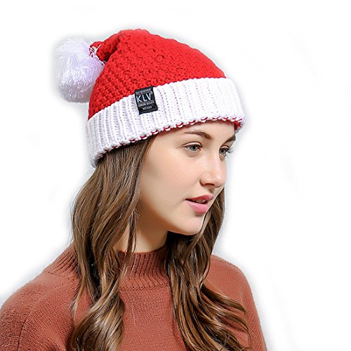 GWELL Strickmütze Nikolausmütze Weihnachtsmütze Wintermütze Mütze mit Pompon aus Strickwolle für Weihnachten Winter (Halloween Bommel Kostüm Kopf)