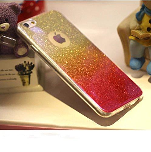 Sunroyal® Case Cover per Apple iPhone 6 6S 4.7, Bumper Custodia [Assorbimento urti] Bling Glitter Soft Morbido TPU Gel Silicone Protettivo Copertura Shell - Rosa Rosso