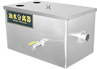 HITSAN INCORPORATION Stainless Steel Grease Trap Interceptor Fats Oils Wastewater 2 Inlets 50x30x30cm