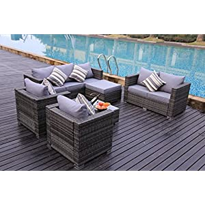 YAKOE 51047-1R Conservatory Rattan Garden Furniture Patio 8-Seater Sofa Set Table Chairs and Stools with Furniture Fitting Cover, Light Grey, 182 x 65 x 71 cm