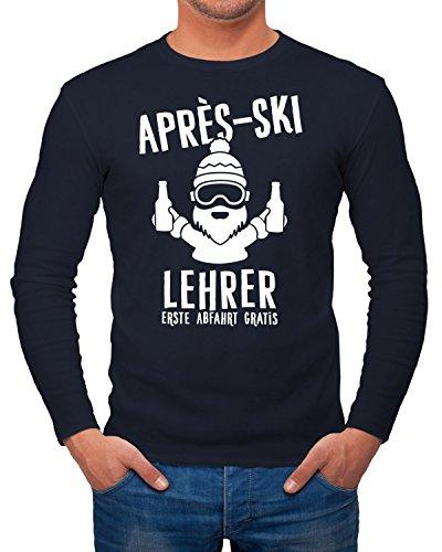 Herren Long-Sleeve Apres Ski Lehrer Langarm-Shirt Moonworks® Navy