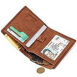 Huztencor Credit Card Holder Wallet Slim Bifold Card Holder Case Leather Card Sleeve Wallet Front Pocket Wallet Minimalist Wallets Money Clip RFID Blocking with Coin Pocket Brown
