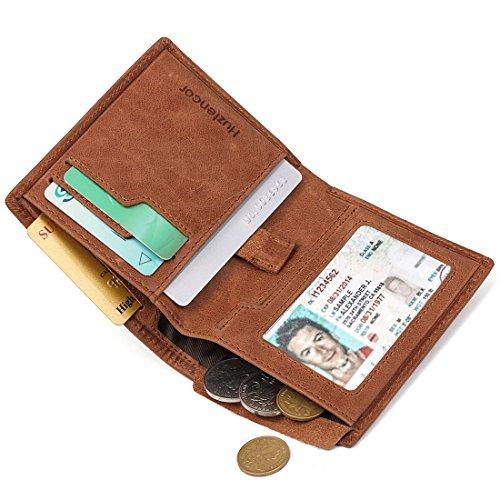 Huztencor Credit Card Holder Wallet Slim Bifold Card Holder Case Leather Card Sleeve Wallet Front Pocket Wallet Minimalist Wallets Money Clip RFID Blocking with Coin Pocket Brown (Security Card Shield)