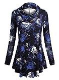 BaiShengGT Damen Langarm Schalkragen Knopf Tunika Langarmshirt Blau-Blumen Large