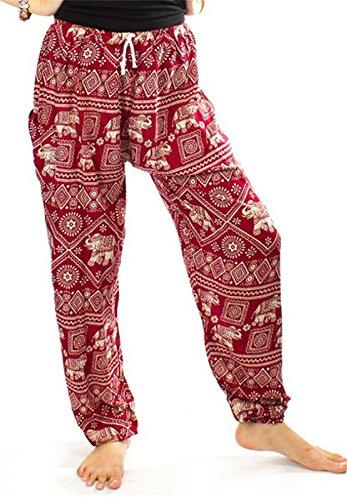 Lofbaz Mujer Elefantes Sello Cordón Harén Boho Pantalones Borgoña M