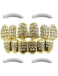 Chapado en oro de 14K Iced Out Grillz con CZ Diamonds–Superior e Inferior Set + 2barras de moldeado extra incluido
