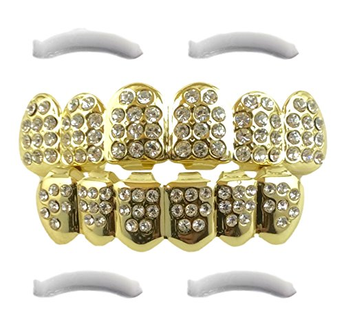 Iced Out Grillz Placcato Oro 14 K Con Diamanti CZ, top e bottom set extra stampaggio a 2 barre inclusi
