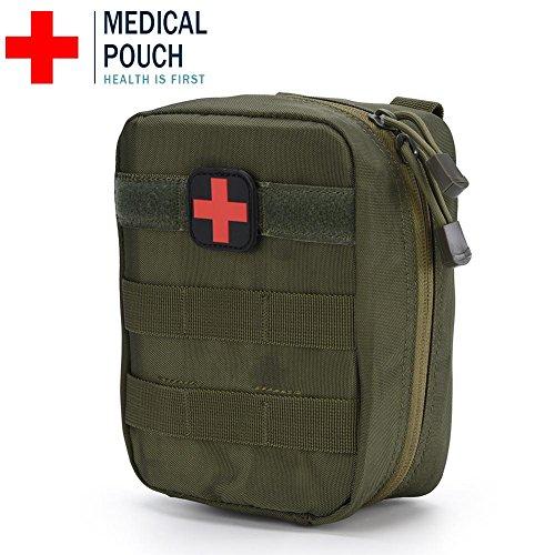 VGEBY1 Erste-Hilfe-medizinische Tasche, Erste-Hilfe-Hilfstasche Notfall Survival Kit Outdoor Rucksack Molle Tasche für Home Car Jagd Arbeitsplatz Camping Reise, 1000D Oxford Stoff(Armee grün)