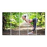 Bild Bilder auf Leinwand Schöne dünne Frau, die im Wald trainiert Wandbild, Poster, Leinwandbild KZR