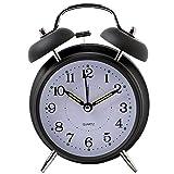 Yxaomite Doppelglockenwecker mit Nachtlicht, Zifferblatt von 4 Zoll, Vintage Analog Quarzwecker mit Runden Metall Alarm, Kein Ticken, geräuschlos, 3D Zahlen für Ihr Schlafzimmer, Büro, Kinderzimmer