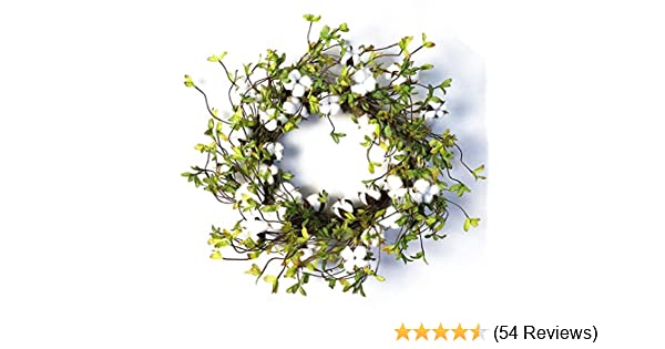22 Cotton Wreath Farmhouse Natural Cotton Boll Rustic Floral Round Wreath with Artificial Green Leaves for Outdoor Indoor Wedding Centerpiece Welcome Decor