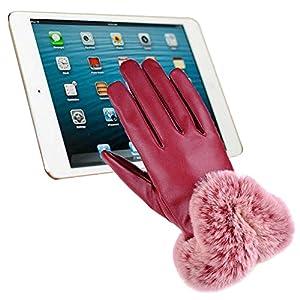 Lederhandschuhe Damen, Winter Touchscreen Handschuhe, Damen Winter Leder Handschuhe Touchscreen, Warme Outdoor Handschuhe mit Voller Touchscree, für Fahren Outdoor Motorrad Radfahren Handschuhe