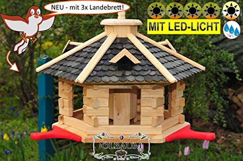 PREMIUM Vogelhaus mit Landebahn + LED - Beleuchtung/Licht/Anflugbrett, Massivholz,wetterfest,mit Silo, Großes Vogelhäuschen, aus Holz schwarz anthrazit lackiert SGAL40atOS -