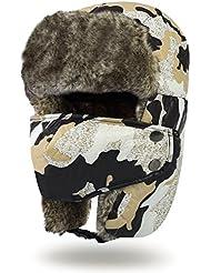 Vbiger hombres Mujeres Estilo Ruso Gorro Aviador Invierno Sombrero Caliente con Orejeras (Negro)