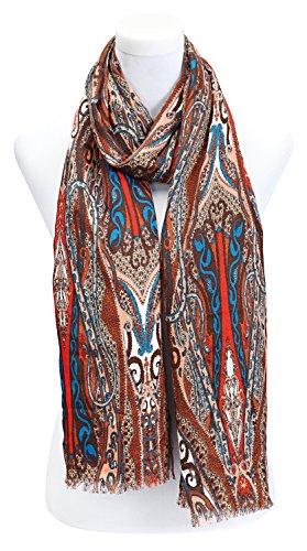 écharpe femme foulard imprimé paisley- disponibles en plusieurs couleurs rouge marron blanc imprimé paisley
