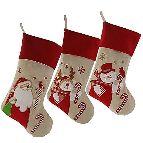 Wewill Marke Lovely Weihnachtsstrümpfe Set von 3 Santa, Rentier, Schneemann Xmas Character 3D Plüsch Leinen Hanging Tag Strickborte, 17-Inch/ 45CM