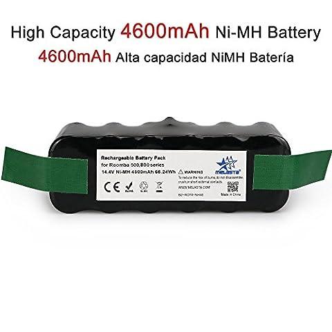 Melasta Mise à jour capacité 4.6Ah 14.4 V NIMH batterie vide pour iRobot Roomba R3 500 600 700 800 série 510 530 531 532 620 650 660 770 790 870 880