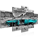 Bilder Auto Grand Canyon Wandbild 200 x 100 cm Vlies - Leinwand Bild XXL Format Wandbilder Wohnzimmer Wohnung Deko Kunstdrucke Türkis 5 Teilig - MADE IN GERMANY - Fertig zum Aufhängen 602251b