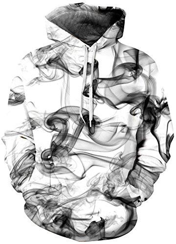 EmilyLe Herren Bunte Pullover mit Taschen Hoodie Long Sleeve Kapuzenpullover 3D Druck Cartoon Muster Sweatshirt Pfeifentabak