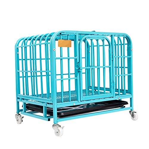 Pet Playpens Robuster Haustierkäfig mit Bodenwanne und Rädern, verhindert Ausflügen, für große Hunderassen, Eisen, blau, 95×65×85cm -