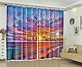 Liya Thermal Insulated Blackout Vorhänge, 3D Sunset Glow am Strand Druckvorhänge Energiesparen und Lärmreduzierung für Wohnzimmer Bettwäsche Zimmer Büro-Vorhänge, 104 * 95 inch