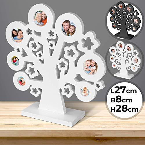 Jago Bilderrahmen Collagen | als Baum für 7 Fotos, MDF, PVC, in 1er oder 2er, in 2 Farben: Weiß oder Schwarz | Fotorahmen, Familien Baum, Bilder, Fotos, Stammbaum, Multirahmen