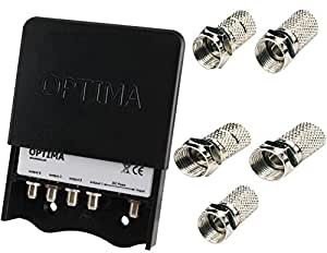 Optima Masthead TV Aerial Splitter  - 4 Way with 4G Filter
