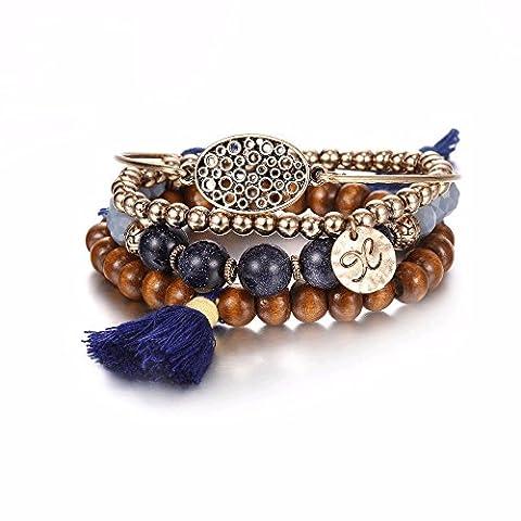 eManco Femmes Bracelets Fait à la Main de Frange et Perle en Bois Bijoux Vintage en Alliage Doré