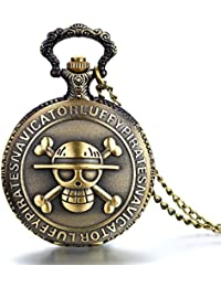 JewelryWe Reloj de bolsillo bronce retro, ONE PIECE Pirata Cráneo, reloj de bolsillo cuarzo cadena de 80 cm, buen regalo