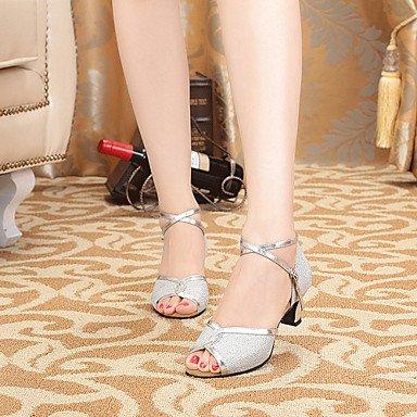 Silence @ pour femme Chaussures de danse Latin Cuir/similicuir Chunky Talon Noir/bleu/argenté/doré doré