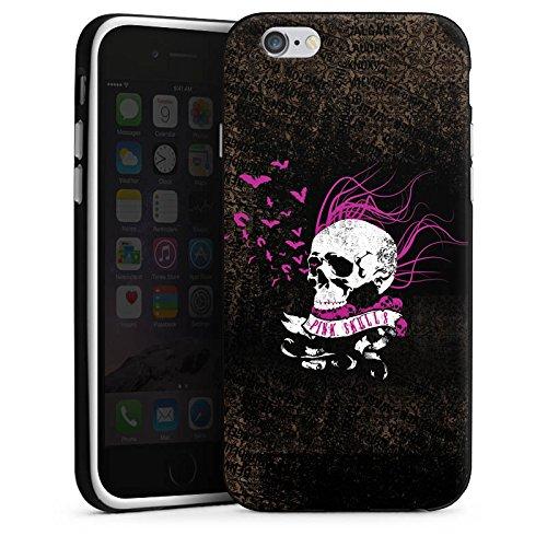 Apple iPhone X Silikon Hülle Case Schutzhülle Totenkopf Schwarz Pink Silikon Case schwarz / weiß