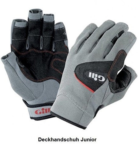 Gill Deckhand Junior Short Finger Sailing Glove Grey/Black 7041J Size- - Junior