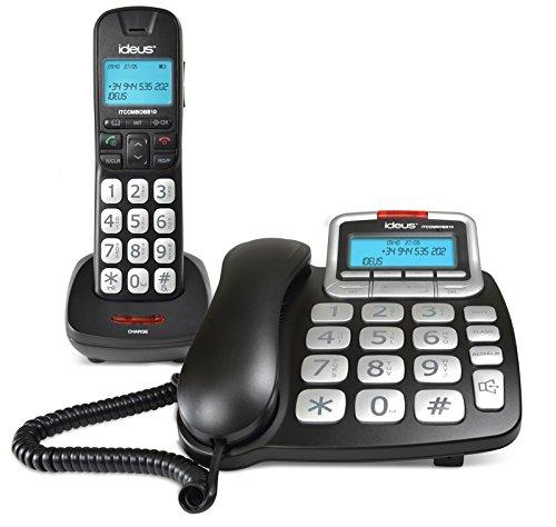 Ideus ITCOMBOBB10 - Teléfono inalámbrico y Fijo Combo, Color Negro y Gris
