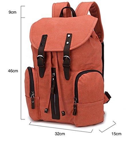 Xiuxiandianju 20L - 35L Canvas Rucksack neue Männer und Frauen Tasche koreanischen Handtasche Rucksack Student Reisetaschen orange red